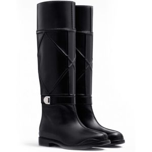 New Dior Archi Cannage Boots Black Leather SZ 37.5